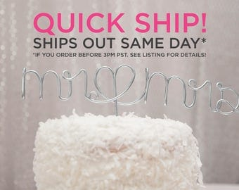 QUICK SHIP / Ships Same Day / Mr and Mrs Cake Topper / Wire Cake Topper / Mr Mrs Wedding Cake Topper / Mr & Mrs / Simple Cake Topper