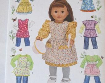 "Simplicity 2761 uncut 18 "" doll American Girl dress pinafore jumper pants apron doll clothes pattern"