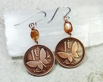 BUTTERFLY EARRINGS, copper coin earrings, hessonite garnet earrings, butterfly dangles, butterfly jewelry,butterfly birthday,insect earrings