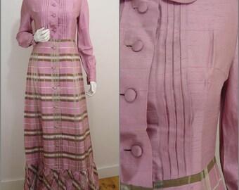 Elegant Chic VINTAGE 1960s  Dollybird Pink Green Check Button Front Silk Blend Maxi Dress UK 10 FR 38 / Quality cut / Designer