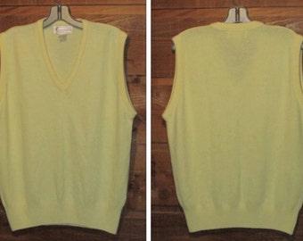 Vintage Yellow Sweater Vest - 80s Arnold Palmer - Men's / Women's V Neck Vest - Made in USA - Size M Medium