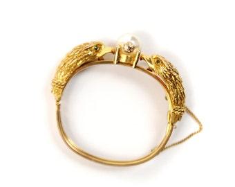Vintage 1950's Castlecliff Gold Double Eagle Animal Themes Hinged Bangle Bracelet