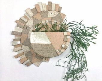 Geometric Wall Hanging Ceramic Planter in Stoneware Peach/white/neutral