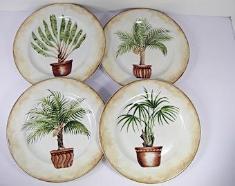 Vintage PALM TREE PLATE Set/4 Dessert Salad Plates Tropical Palms American Atelier