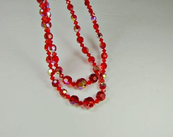 Vintage IRIDESCENT RED NECKLACE Glass Beads Double Strand Costume Jewelry