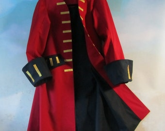 Child's Pirate Frock Coat: Jack Sparrow, Elizabeth Swann, Captain Hook, Gaston - Fully Lined, 100% Cotton, Size 8 - 14, Made To Order Only