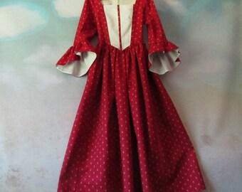 Girl's Renaissance Woodland Costume Dress: Renaissance Festival, OctoberFest, 19th Century - All Cotton, Size 6, Ready To Ship Now