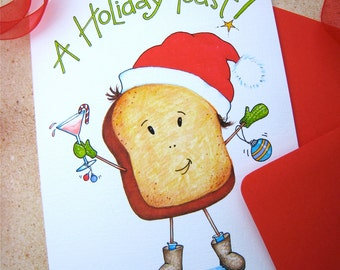 Holiday Toast Christmas Card - Pun Christmas Card - Funny Christmas Card - Christmas Drinking