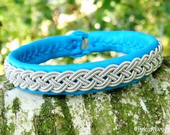 A Piece of the North ASGARD Sami Bracelet Cuff Swedish Lapland Viking Jewelry with Pewter Braid on Silksoft Turquoise Reindeer Leather