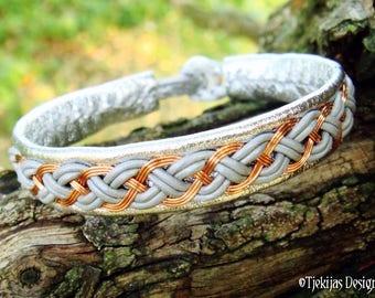 Norse Pagan Viking Bracelet   DRAUPNIR Copper and Silver Leather Cuff   Custom Handmade Folklore Unisex Bracelet