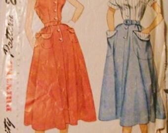 Vintage Sewing Pattern, 50s Dress Pattern, Simplicity 3255, Size 14 Bust 32, Rockabilly Dress, Short Sleeve, Sleeveless Dress, Mid Century