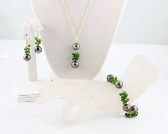 Emerald green Tsavorite & Tahitian pearl necklace bracelet earrings, jewelry set, saltwater, black pearls, green garnet: Simply Adorned