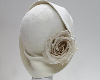 The Anais Hat - 1920s Wedding Hat- Ivory Bridal Hat w/ Silk Rose - Ivory Felt Hat - Formal Hat -Winter Hat - Wedding Millinery -Ivory Cloche