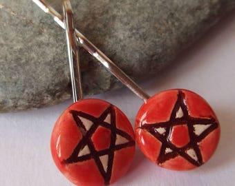 Ceramic Red Pentacle Star Hair Grip Set, Hair Clip, Hair Slide, Bobby Pins, Pagan Accessories, Wiccan Accessories, Goddess, Pentagram