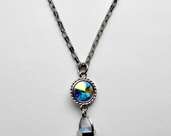 Opal crystal necklace - turquoise rivoli - stainless steel chain
