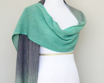 Woven wrap, ombre scarf, woven stole, woven scarf, pashmina in gradient color mint green and grey with fringe gift for her
