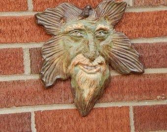 Ceramic Wall Face, Leaf Spirit Art, Home or Garden Hanging Face, Original Pottery Mask, Tree Spirit