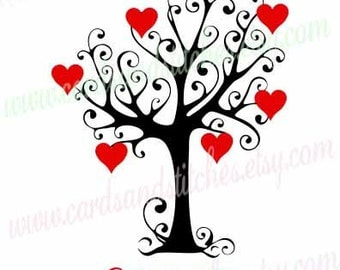 Family Tree SVG   Valentine Tree SVG   Love Hearts SVG   Cricut Cut    Instant