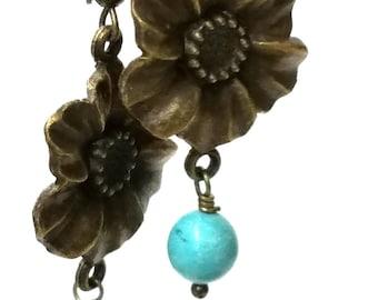 Bronze Floral Flower Drop Dangle Earrings