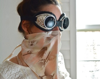 Cream Silk With Feathers Face Mask/ Dust Mask/ Festival Mask/ Burning Man Dust Mask/ Burning Man Face Mask/ Dust Mask/ Festival Scarf
