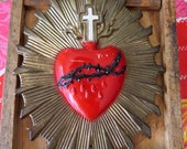 Vintage Sacred Heart Brass Funeral Medallion- Lovely and heavy- vintage condition