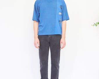 90s Sporty Blue Black Stripe T-shirt / Boxy Tee