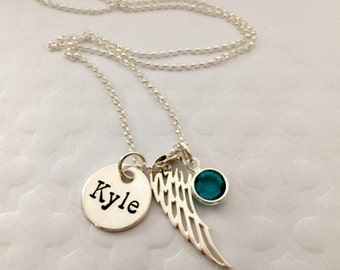 Memorial Angel Wing Name Necklace - Personalized Sympathy Gift Ideas - Angel Wing Necklace - Custom Memorial Jewelry - The Charmed Wife -