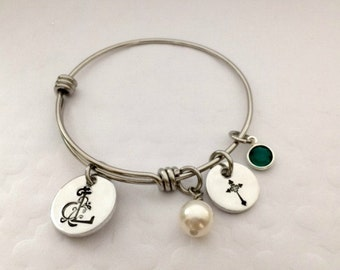 Little Girls Adjustable Bangle - Personalized Religious Bracelet - Children's Bracelet - First Communion Gift Idea - The Charmed Wife