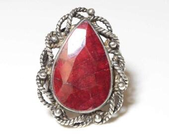 Vintage Sterling Silver Large Red Gemstone Modernist Band Size 8