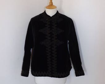 Antique Victorian black velvet and cord applique work ladies Mourning jacket coat goth size XS S UK 6 8