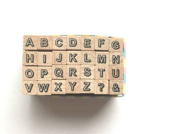 alphabet rubber stamp set. uppercase letter stamp. wood mounted planner stamp. japanese design. small. scrapbooking. card making. no 12