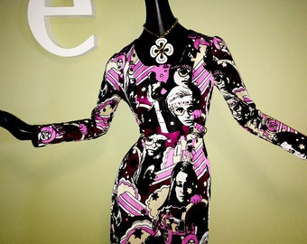 MOD Vintage 60s 70s Maxi Dress Glam Rock Disco Groovy Hippie Lady Ladies Twiggy Carnaby Street Peter Max Style Psychedelic Space Age X Small