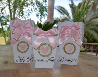 Minnie Pink & Gold Favor Boxes Set of 10, Minnie Popcorn Boxes, Pink And Gold Minnie Birthday, Minnie Mouse Party Favors, Popcorn Boxes,