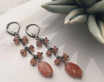 Sunstone - Oxidized Sterling Silver Earrings - 5474