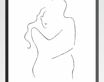 Minimalist line art. Romantic couple drawing. Love illustration. Man and woman embrace wall art.