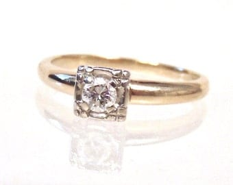 Sale! Diamond Solitaire Ring in 14K Yellow & White Gold, Engagement, Wedding
