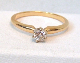 Diamond Solitaire 14K Ring, Engagement, Yellow Gold, Vintage