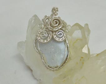 Natural druzy blue agate wire wrapped pendant