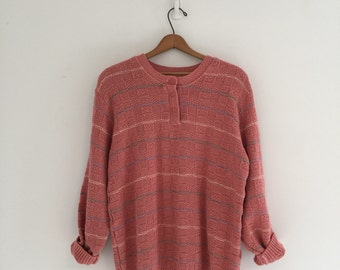 Vintage 80's Dusty Rose Cotton Sweater M