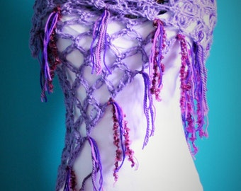 Crochet Love Knot Shawl,Open Weave Wrap,Gypsy Clothing,Hippie Clothes,One Size,Womens Clothing,Purple,Fringe,Soft,Celtic Love Knot,Gift