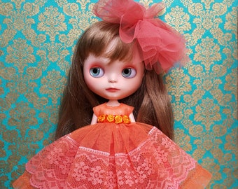 RESERVED Coral and Orange Tulle and Lace Maxi Blythe Dress, Cape and Crinoline Set | Pullip Dress