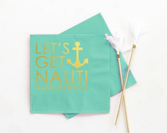 Nautical Bachelorette Party Napkins Personalized Cocktail Napkins Custom Beverage Napkins Nautical Party Supplies Bachelorette Party Ideas