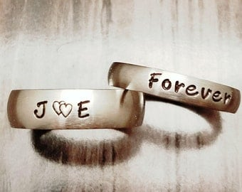 2 pc. set, Matching rings, Couples rings, His & Her rings, custom name rings, name rings, wedding rings, wedding bands, promise rings, GPS