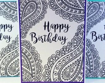 Mandala Colouring Birthday Card, Adult Colouring Book Card, Birthday Card, Adult Coloring Book Card