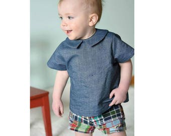 PATTER Shirt pattern and PITTER Shorts pattern Pdf sewing, Baby Boy Girl, Easy Blouse Top, toddler newborn up to 6 yrs