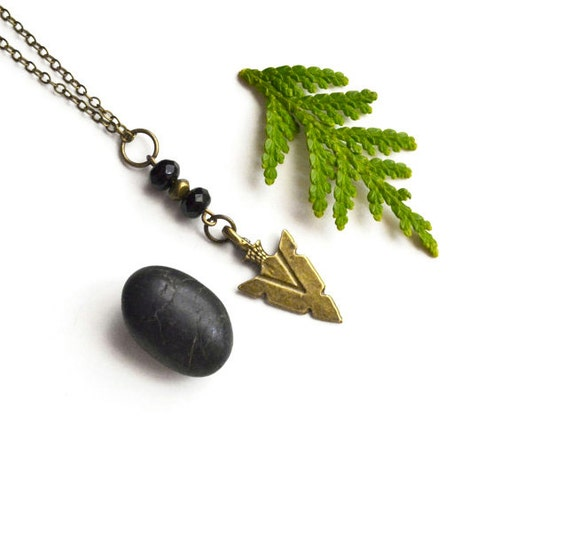 Mens Arrowhead Necklace, Mens Necklace, Mens Jewelry, Unisex Arrowhead Necklace, Jet Black, Tribal Arrowhead, Jewelry, Canadian Shop
