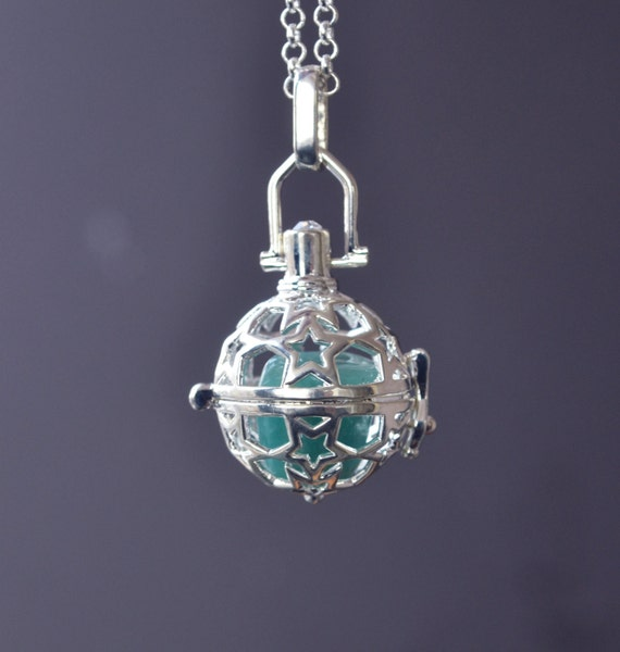 Star Cage Necklace, Amazonite Cage Necklace, Crystal Cage, Harmony Ball Necklace, Amazonite Jewelry, Star Jewelry, Nature Lovers Gift