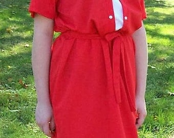 Vintage 1970s Ladies Red & White Secretary Dress Large Only 7 USD