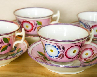 19th Century, Pink Luster, Set of 4, London Shape Teacups and Saucers,  Lustre, Lusterware Iridescent Bronze Pink