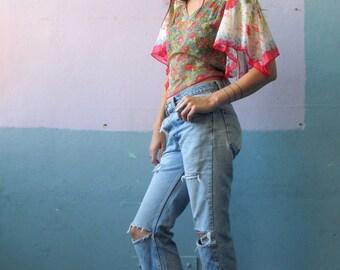 Vtg 70s Floral Kimono Top / Soft Drape / Cotton Blouse